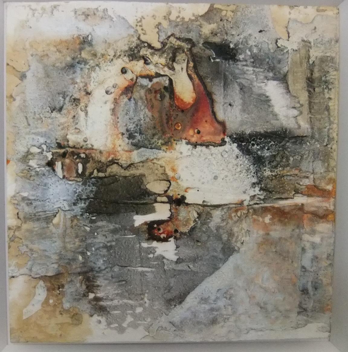 Werknr. 94_o.T._Marmormehl, Beize, Pigment auf Papier_30x30 cm_2012