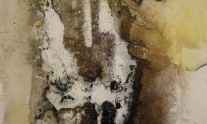 Werknr. 118_o.T._Marmormehl, Öl, Beize, Tusche, Kohle, Pigmente auf Leinwand_60x90 cm_2013._Marmormehl, Öl, Beize, Tusche, Kohle, Pigmente auf Leinwand_60x90 cm_2013